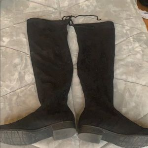 Unisa black thighs suede boots size 8